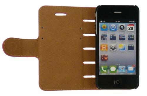 Emartbuy® Sparkling Stylus Pack Für Apple Iphone 4 4G 4Gs Pu Leder Schlank 2 In 1 Wallet Case Tasche Schutzhülle Rosa / Tan Mit Kreditkarte Slots + Sparkling Metallic Rosa Stylus + Displayschutzfolie
