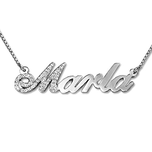 Diamond 14k White Gold Personalized Name Necklace - Custom Jewelry- Diamond Pendant Gift