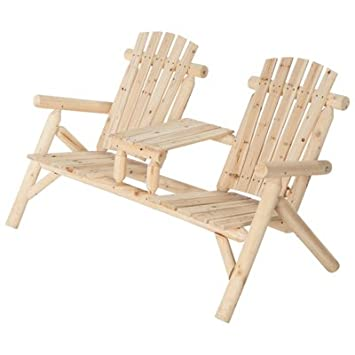 Good Double Cedar/Fir Log Adirondack Chair With Table, Model# SS CSN