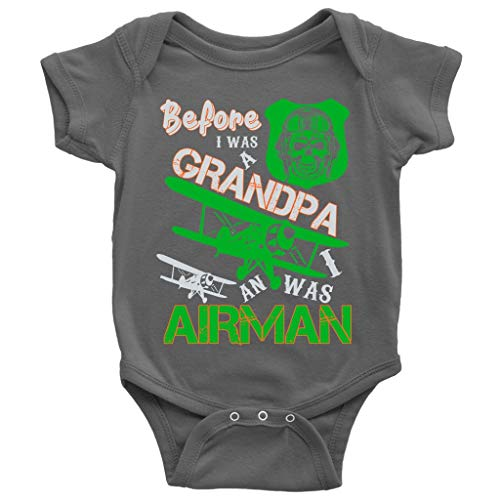 Before I Was A Grandpa Baby Bodysuit, I Was An Airman Cute Baby Bodysuit (NB, Baby Bodysuit - Dark Gray)