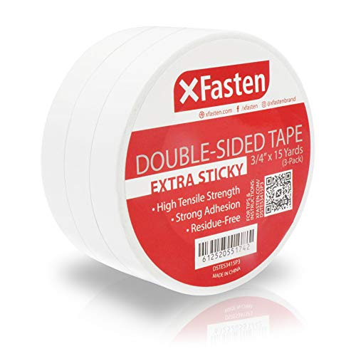 XFasten Extra Strength Double-Sided Tape, White, 3/4-Inch x 15-Yard (Pack of 3) - Extra Sticky for Heavy Duty Bonding (15 Yards per Roll)