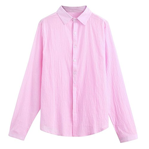 Realdo Mens Solid Cotton Linen T Shirt, Casual Fashion Tops V-Neck Long Sleeve Tee(Pink,X-Large)