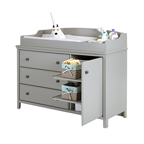 South Shore Cotton Candy Changing Table with Removable Changing Station, Soft Gray by South Shore