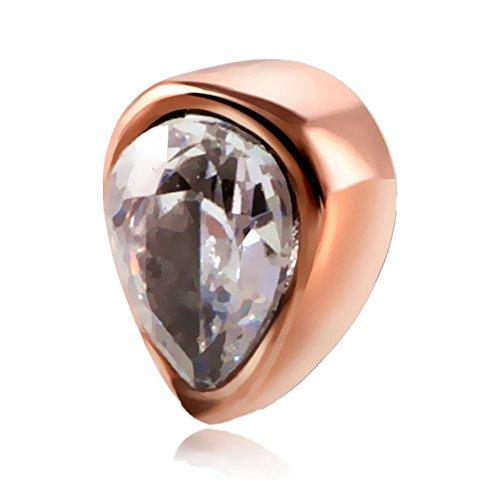 XPIRCN Steel Dermal Anchor Tops Rose Gold Tear Drop Piercing (Top Drop)