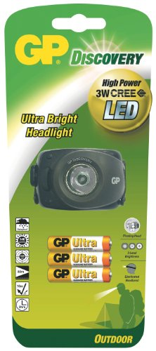 GP Discovery 455003 LOE208 LED Headlight with 3 x LR03 Batteries Black