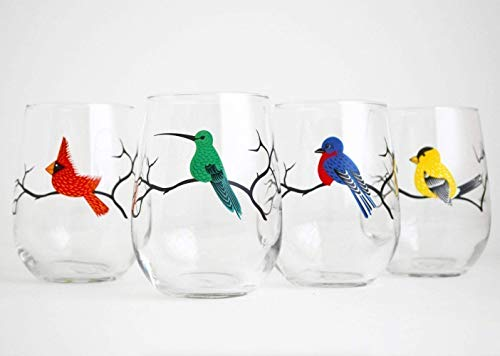 Four Birds Stemless Wine Glasses – Set of 4 Glasses with Hummingbird, Cardinal, Bluebird and Finch For Sale