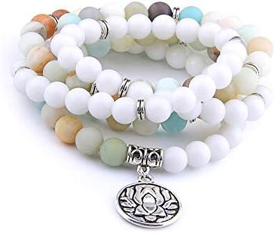 DADATU 108 Perlas De Oración Esmeriladas Mate Amazonita Pulsera Lotus Colgante Encanto Collar para Yoga Engery Hombres Pulsera Mujeres Joyería
