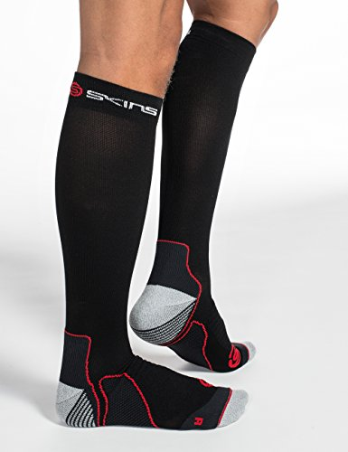SKINS Essentials Active Mid Weight Compression Socks, Black/Fierce Red, Large by Skins