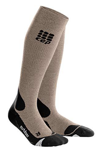 (Men's Long Compression Wool Socks - CEP Outdoor Merino (Sand Dune/Black) III)