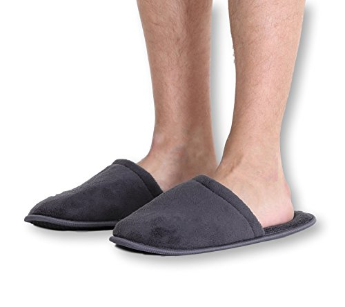 Pembrook Men's Slippers with Memory Foam - Gray - L/XL (10-13) - Fuzzy Polar Fleece with non skid sole - Great Plush Slip On House Slippers for adults, men, (Disposable Foot Sox)