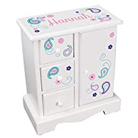 MyBambino Personalized Girls Jewelry Armoire Chest Box Pink Teal Paisley Pattern Name