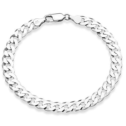 MiaBella 925 Sterling Silver Italian 7mm Solid Diamond-Cut Cuban Link Curb Chain Bracelet for Men Women, 8