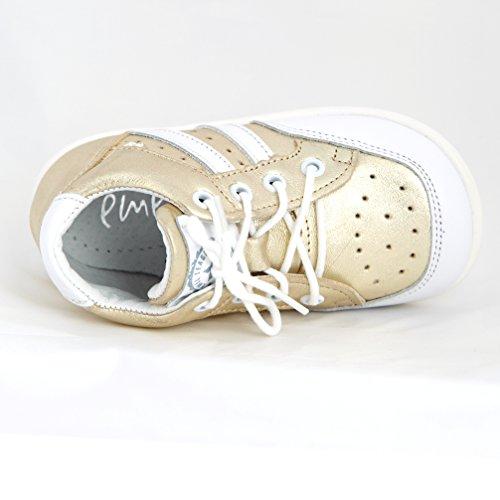 Babyschuhe Kinderschuhe Lauflernschuhe sportliche Gold weiß Modell Emel 2416-6 handmade Gr. 23