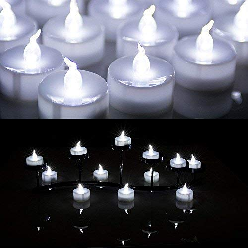 AGPtek® 24 PCS LED Tealights Battery-Operated flameless Candles Lights For Wedding Birthday Party - White]()