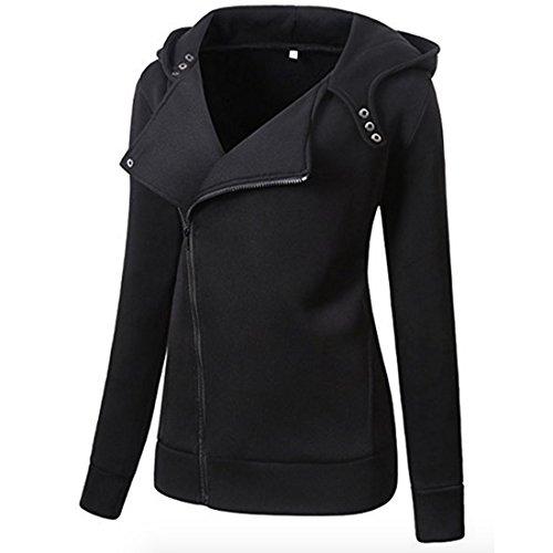 Women's Women Slim Fit Zip up Hoodie Jacket Casual Oblique Zipper Coat Pockets (US 2XL=US Size L, Black)