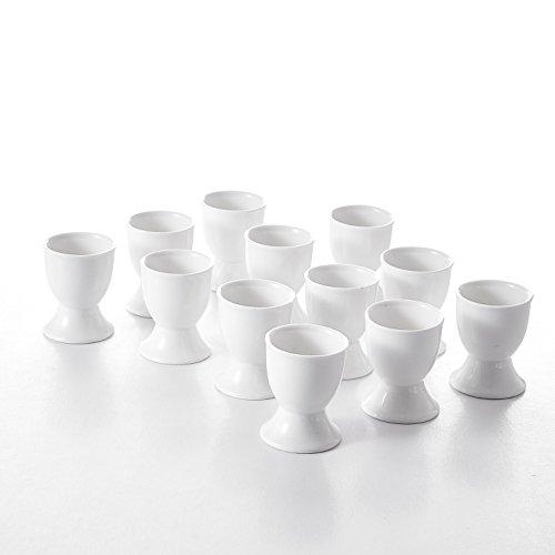 - Malacasa 12 Piece Series Regular Egg Cups, Porcelain China Ceramic, Cream White Egg Stand Plates, Ivory White, Set of 12