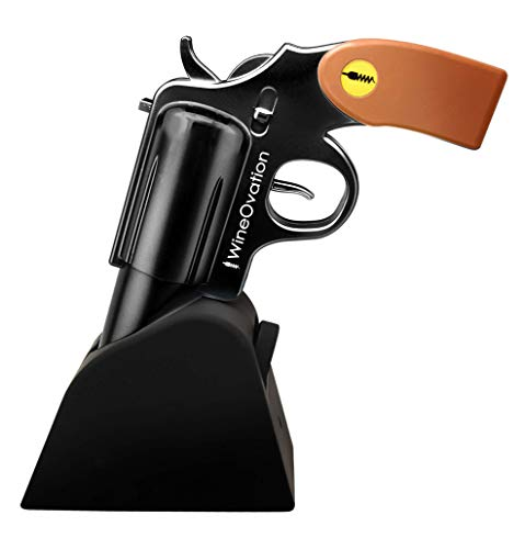 WineOvation Electric Gun Wine Opener (Black) - Open your Wine Bottle fast and without hassle - Great Gifts for Gun Enthusiasts and Wine Lovers ()