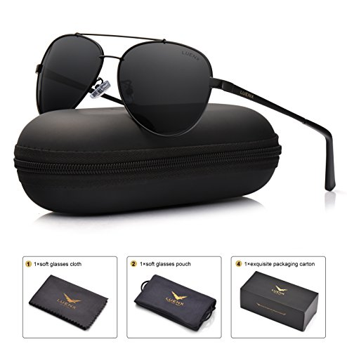 LUENX Men Women Aviator Sunglasses Polarized Non-Mirror Black Lens Black Metal Frame with Accessories UV 400 Protection - Mens Sunglasses Aviator