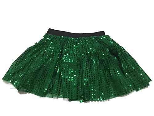 [Rush Dance Sparkle Sequin Running Skirt Race Costume Glitter Ballet Tutu 5K (S/M, Kelly Green)] (Cupid Costume Ballet)