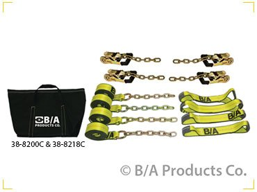 BA Products 38-8218C 8 pt Rollback Tie Down Flatbed tow truck gradual release ratchets Straps w/chain 18' straps KIT USA Recovery tow truck wrecker