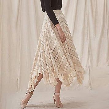 QYYDBSQ Falda Plisada Asimétrica Mujer de Cintura Alta Patchwork ...