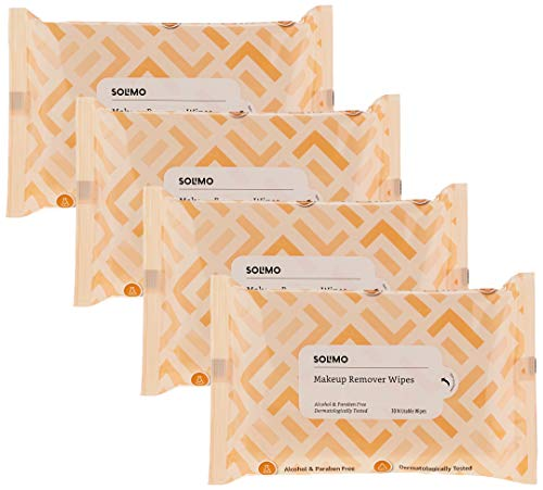 Amazon Brand – Solimo Makeup Removal Wipes – 30 wipes/pack (Pack of 4)