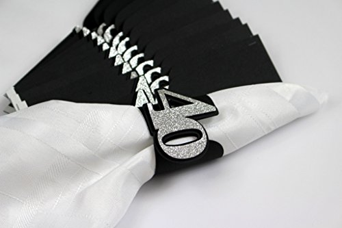 All About Details Black & Silver 40 Napkin Holders, Set of 12