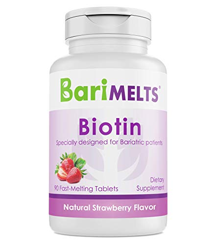 BariMelts Biotin, Dissolvable Bariatric Vitamins, Natural Strawberry Flavor, 90 Fast Melting Tablets ()
