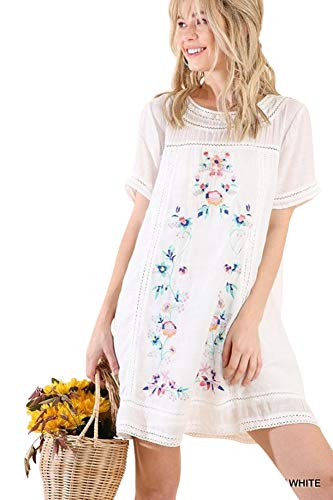 Umgee WomenS Fashion Bohemian Embroidered Short Sleeve Poly Cotton Dress Or Tunic (L, White)