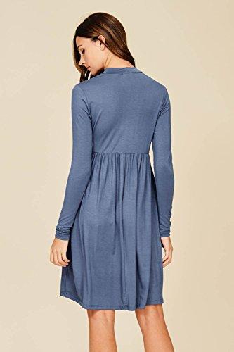 6d9f14688ec Annabelle Women s Long Sleeve Pleated Babydoll Midi Dress with Pockets
