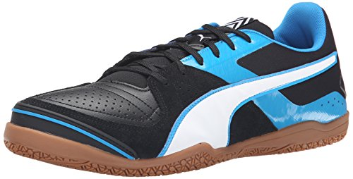 PUMA Men's Invicto Sala Soccer Shoe, Black/White/Cloisonne, 8 M US