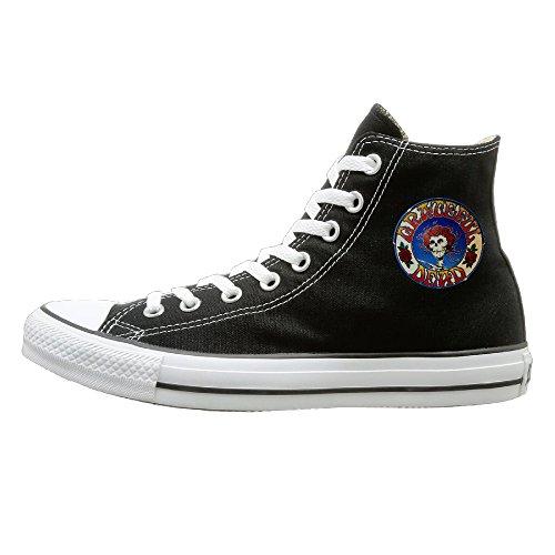 JayKi Grateful Dead Rock Band Unisex Canvas Sneaker Casual Shoes 39 Black