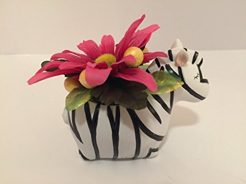 ANIMAL FUN - ZEBRA VASE - PINK AND YELLOW DAISIES AND YELLOW GLITTER BALLS by Peters Partners Design