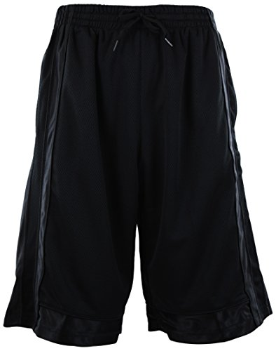 Mens Solid Color Basketball Training Shorts with Pockets and Drawstring (5XL, S01-BLACK)
