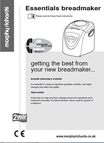 Morphy Richards Pan máquina eléctrica manual de instrucciones y recetas 84400