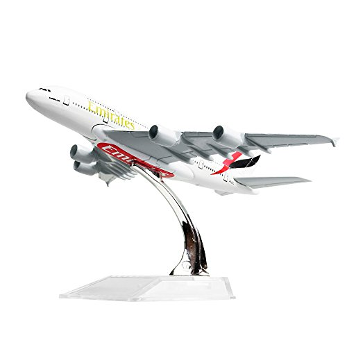 Diecast Airplne 1:400 Emirates Airbus 380 Metal 6.3inches(16cm) Plane Model Office Decoration or Gift by LESES (Emirates 1 400)