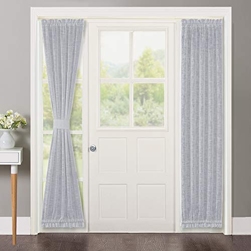 NICETOWN Door Curtain Panel Sheer - Sheer French Door Curtain Linen Textured French Door Panel 72 inches Long Curtain for French Doors with Single Tieback (Light Grey, 1 Panel) ()