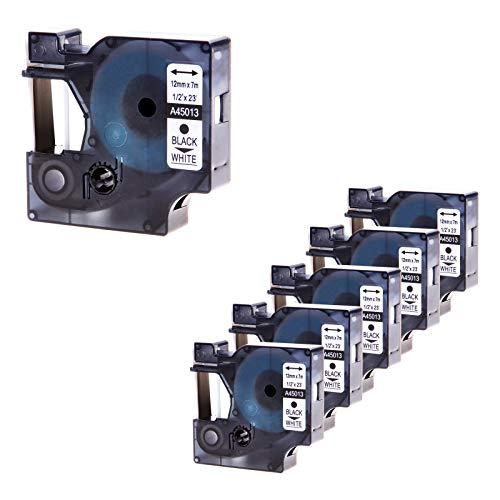 (Nineleaf Compatible DYMO D1 Label Cassette 45013 S0720530 Label Maker Tape Black on White 1/2 Inch 23 Feet For Use with LabelManager 160 210D 210D Kit 260P 280 PnP 360D)