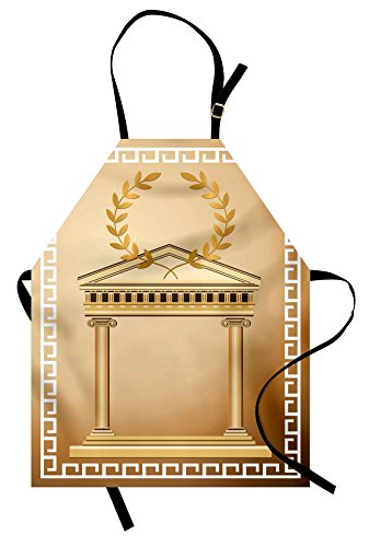 Bib Motifs (Ambesonne Toga Party Apron, Antique Temple with Roman Olive Branch and Greek Architecture Motif, Unisex Kitchen Bib Apron with Adjustable Neck for Cooking Baking Gardening, Pale Brown and Coffee)