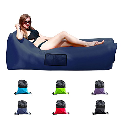 Easycouch Inflatable Lounger With Travel Bag,Waterproof Ripstop Polyester,Gift for indoor or outdoor (Navy)