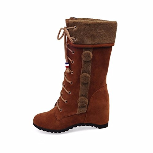 planas mate botas El de redondo brown botas invierno tubo aumento de de de tamaño las OrwOq8XRx