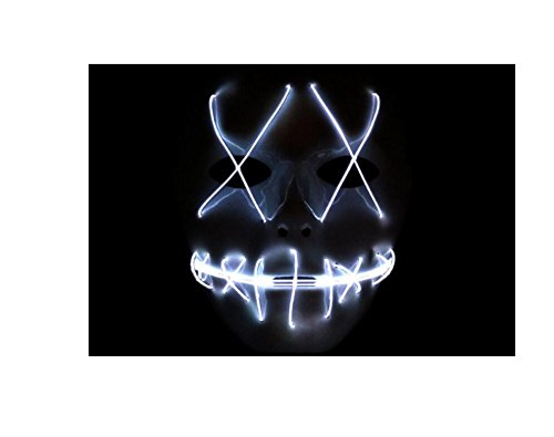 Sparik Enjoy Scary Mask Halloween Cosplay Led Costume Mask El Wire Light up Mask for Festival Parties White 1pc (White -
