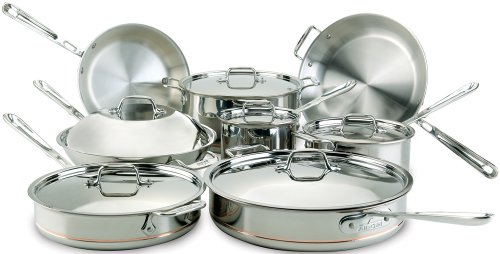 All-Clad 60090 Copper Core 5-Ply Bonded Dishwasher Safe Cookware Set, 14-Piece, Silver -