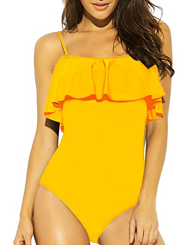 Funnygirl Womens Solid Color Swimsuit Flounce Off Shoulder one Piece Ruffles Beach Swimwear Bathing Suit Yellow Medium ()