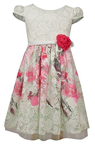 Bonnie Jean Girls Easter Wedding Cap Sleeve Floral Lace Dress, Green,16 ()