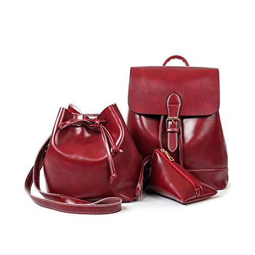 Tisdaini Borse da donna in pelle PU moda piccolo zaino borsa a tracolla portafoglio monete per donna Rosso