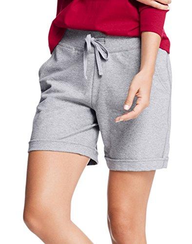Hanes Womens French Terry Bermuda Pocket Short O4681_Light Steel_L