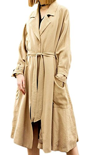 M&S&W Women's Long Trench Coat Casual Elegant Lapel Waterfall Outwear Cardigan Jacket With Belt 1 M by M&S&W (Image #4)