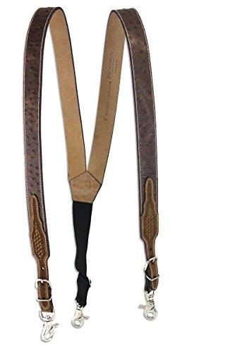 Nocona Men's Basketweave Ostrich Print Galluses, Tan, (Nocona Leather Jeans)