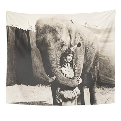 Emvency Tapestry 1910S Black Retro Elephant Embracing Circus Performer White Vintage 1920S 1940S Home Decor Wall Hanging for Living Room Bedroom Dorm 60x80 Inches -